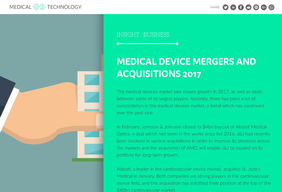 Medical device mergers and acquisitions of 2017 - Medical