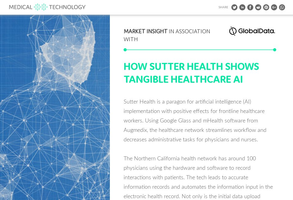 how sutter health shows tangible healthcare ai medical technology issue 11 january 2019